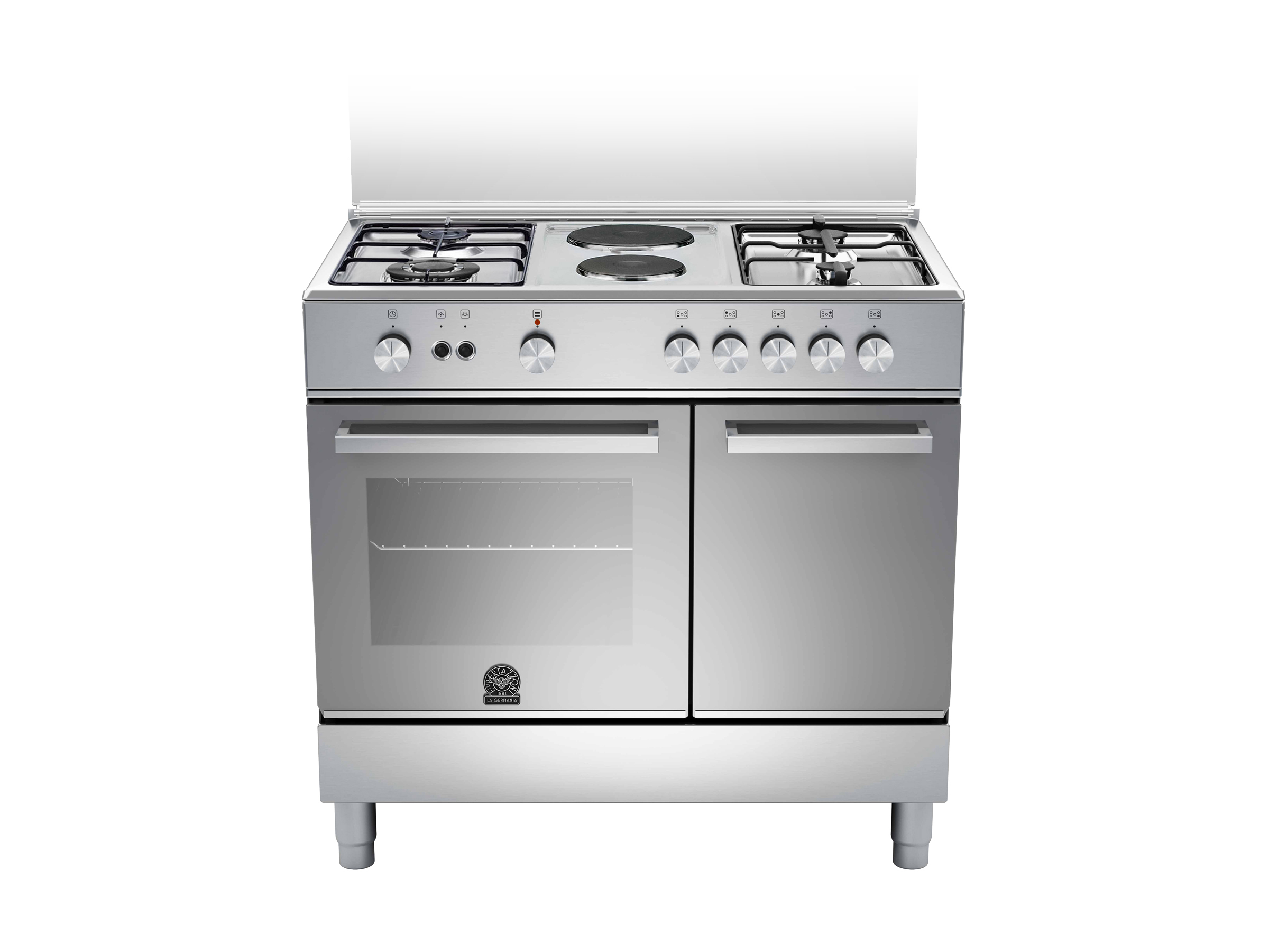 90 4-Burners 2-Hotplate Bottle Compartment DX | Bertazzoni La Germania - Stainless