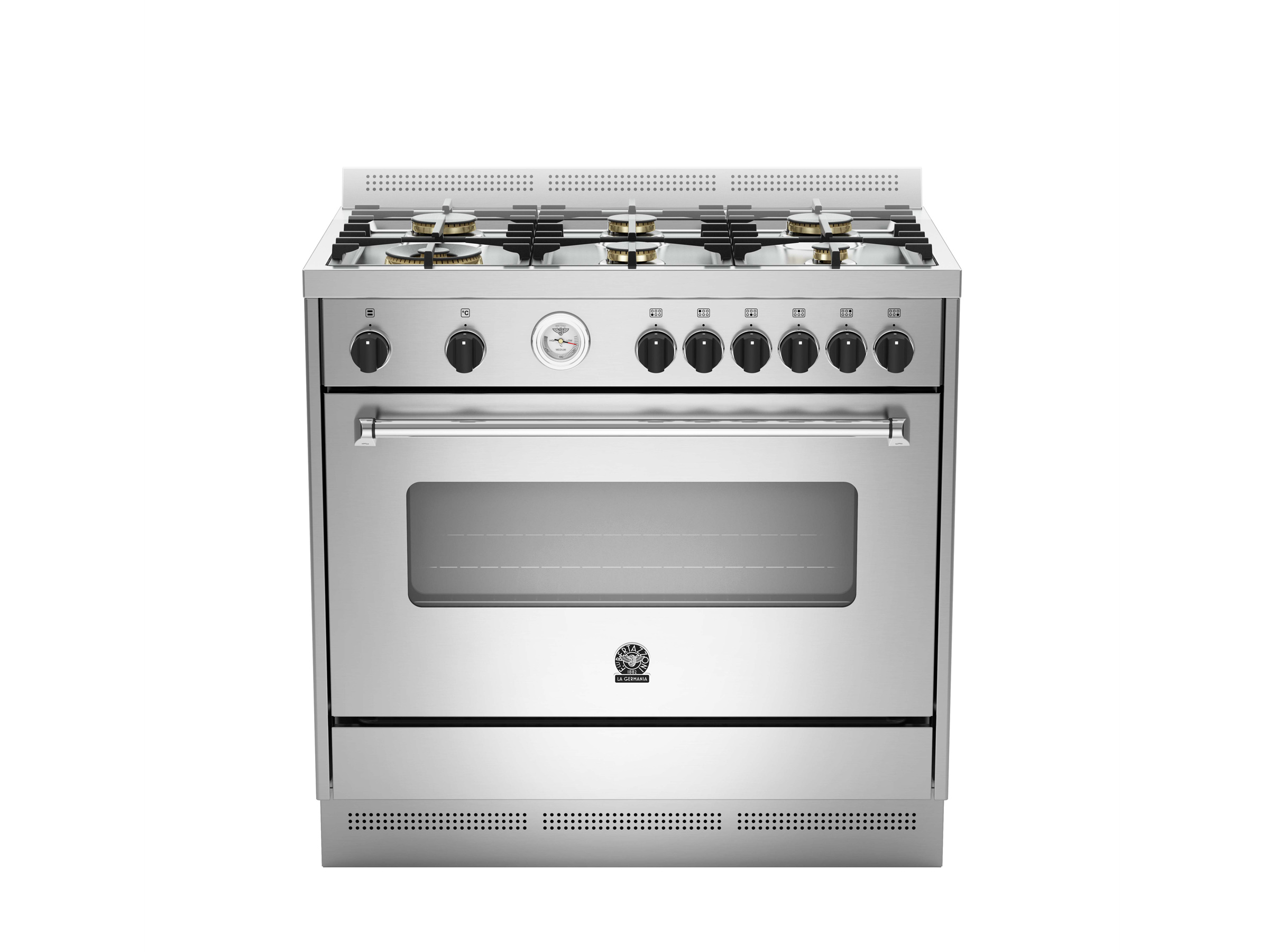 90 6-Brass Burners Gas Oven AX | Bertazzoni La Germania - Stainless