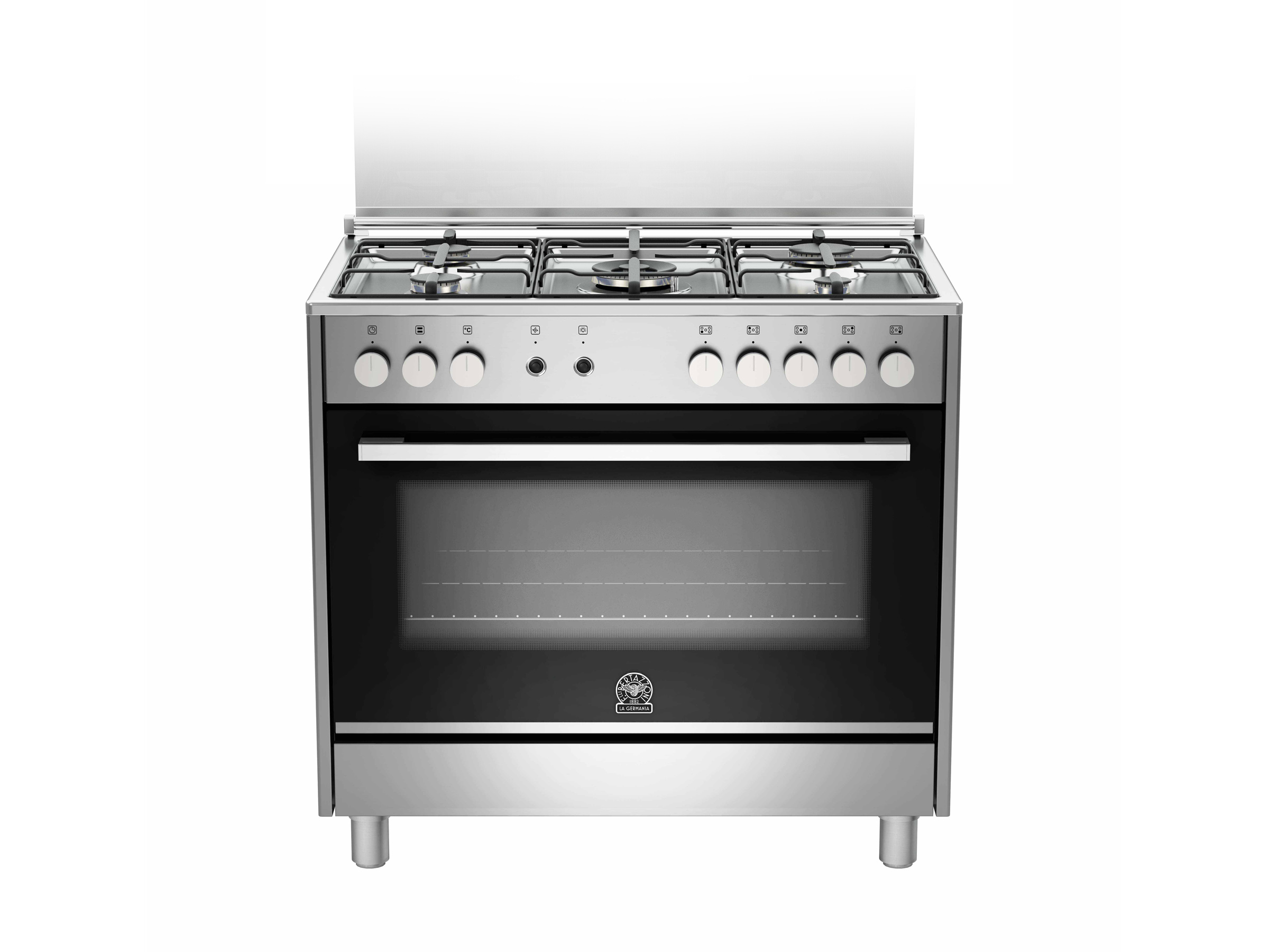 90 5-Burners 1-Hotplate Gas Oven DX | Bertazzoni La Germania - Stainless